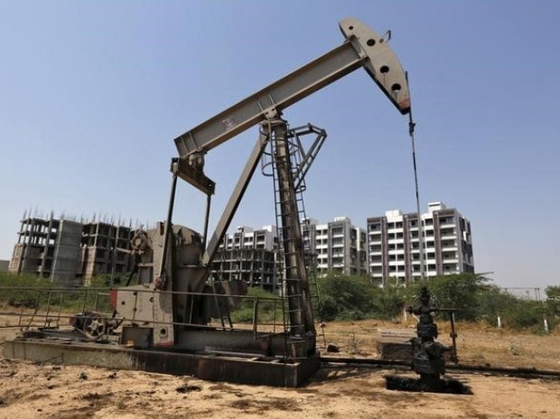 An Oil and Natural Gas Corp's (ONGC) well is pictured in an oil field on the outskirts of Ahmedabad
