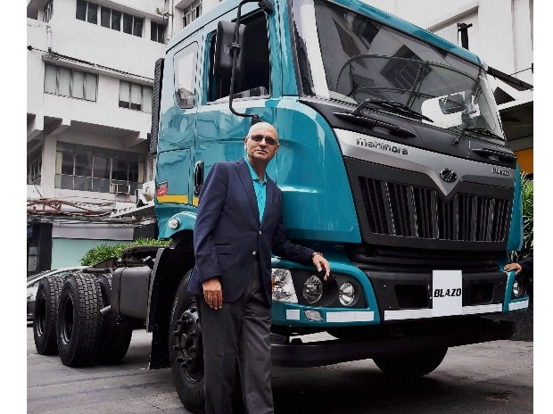 Nalin Mehta, CEO, Mahindra Truck and Bus Division, Mahindra & Mahindra Ltd poses during the launch of new HCV Truck Series,