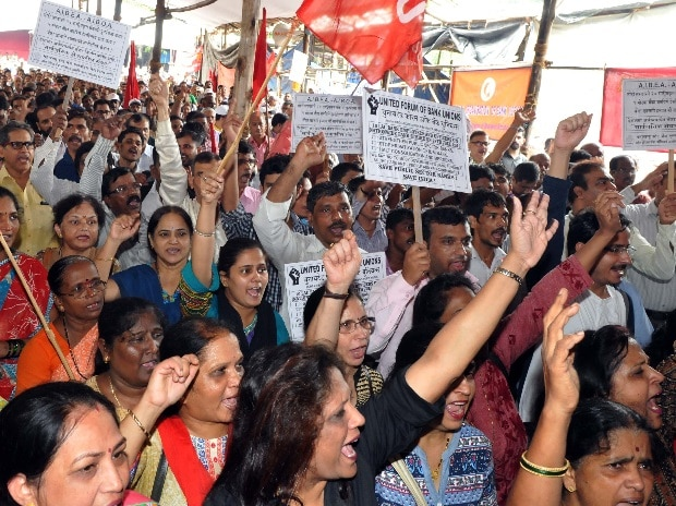 Bank employees shout slogans while protesting during a nationwide strike called by the United Forum of Bank Unions (UFBU), in Mumbai (Pic: Suryakant Niwate)