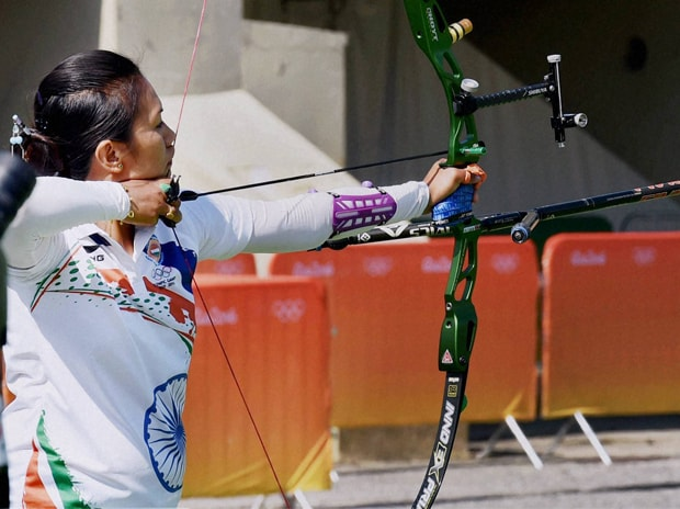 Indian archery team member Bombayla Devi during the practice session at Rio de Janeiro, Brazil. Photo: PTI