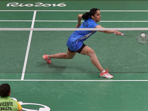 Saina Nehwal plays against Vicente Lohaynny of Brazil during the Women's Single match at the Rio Olympics. Photo: PTI