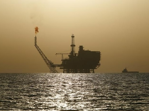 An offshore oil platform at the Bouri Oil Field off the coast of Libya
