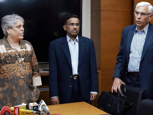 File photo: Members of the Supreme Court appointed three-member panel of Board of Control for Cricket in India (BCCI) former CAG India Vinod Rai (R), IDFC Managing Director and CEO Vikram Limaye and sportsperson Diana Edulji (L) after a meeting in Mumbai