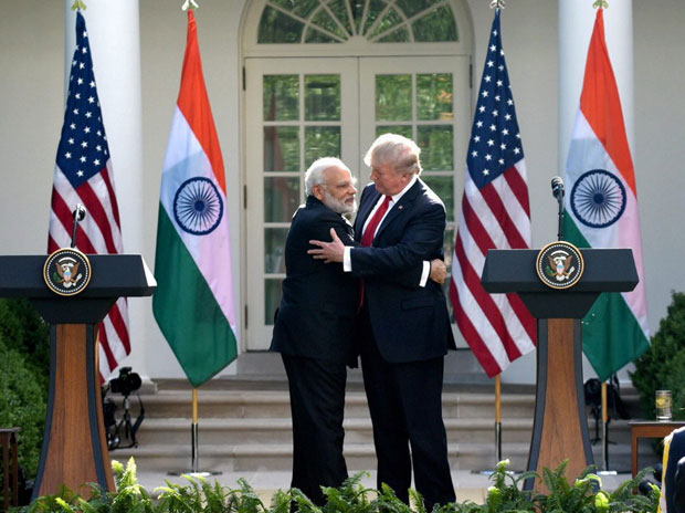 Prime Minister Narendra Modi meeting the US President Donald Trump, at the delegation level talks at White House, in Washington DC.