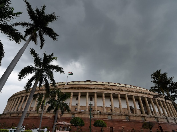 Dark clouds seen over the Parliament house during the ongoing monsoon session in New Delhi. (Photo: PTI)