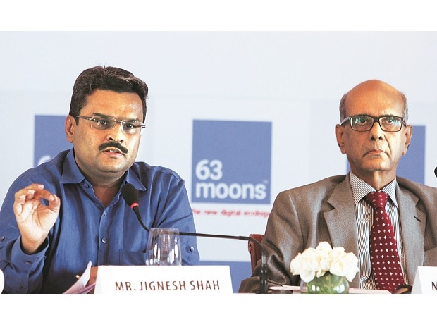 Jignesh Shah (left), chairman emeritus, and Venkat Chary, chairman, 63 Moons Technologies, at a press conference in Mumbai on Friday. Photo: Kamlesh Pednekar