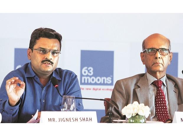 Jignesh Shah (left), chairman emeritus, and Venkat Chary, chairman, 63 Moons Technologies, at a press conference in Mumbai on Friday. Photo: Kamlesh Pednekar