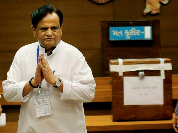 Congress leader Ahmed Patel after casting vote for the Rajya Sabha election at the Secretariat in Gandhinagar on Tuesday. (Photo: PTI)
