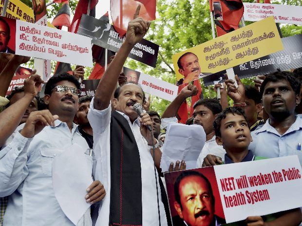 MDMK leader Vaiko, along with his party workers, holding a protest against the Central government on NEET issue, in Chennai (Photo: PTI)