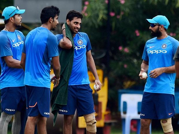 Indian cricket team fast bowlers Bhuvneshwar Kumar, Umesh Yadav and Jasprit Bumrah during a practice session at MAC Stadium on the eve of the first ODI match against Australia, in Chennai. Photo: PTI