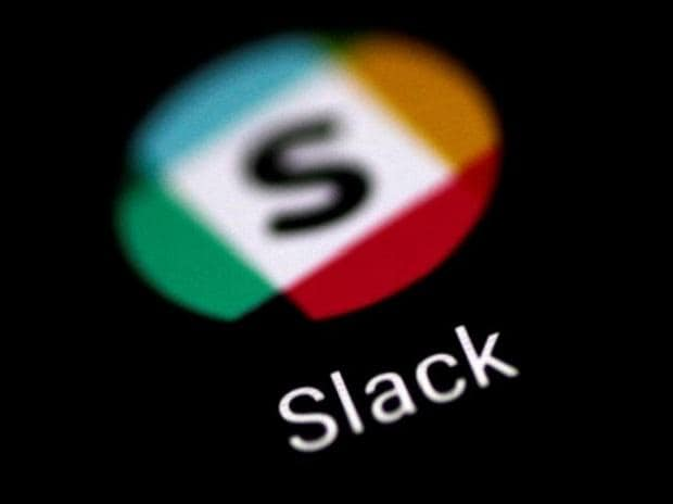 The Slack messaging application is seen on a phone screen.