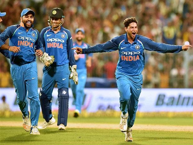 Kuldeep Yadav celebrates his hat trick against Australia during 2nd ODI cricket match at Eden Garden. File Photo: PTI