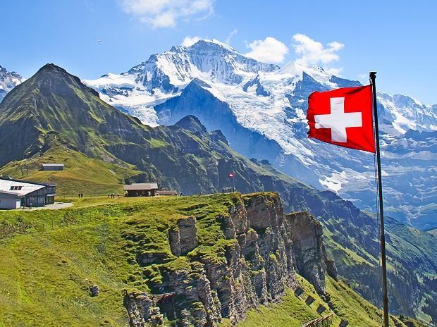 Swiss flag on the top of Mannlichen (Jungfrau region, Bern, Switzerland). Image: Shutterstock