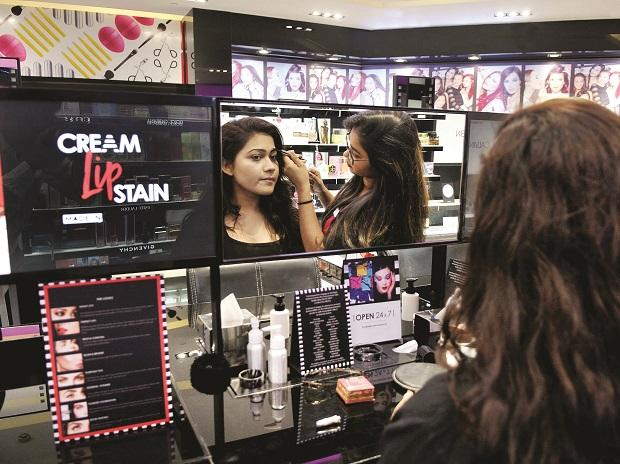 The store trains its employees to  familiarise customers with the brands on display and assist them with live make-up tutorials. Photo: Kamlesh D Pednekar