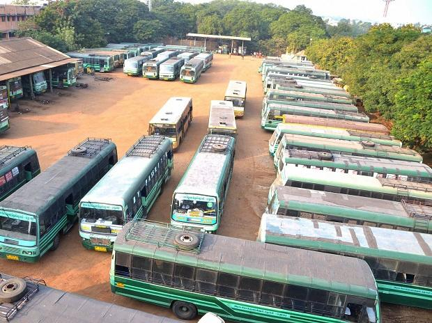 Buses remain parked at the depot following a flash strike by Tamil Nadu State Transport Corporation (TNSTC) employees, in Madurai. Photo: PTI
