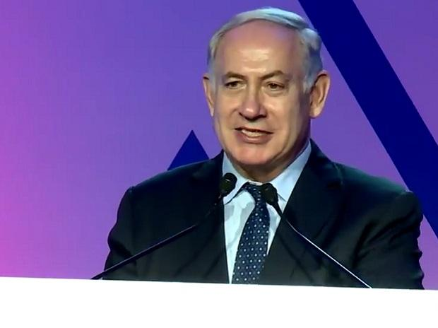Netanyahu speaking at the event. Photo: Twitter