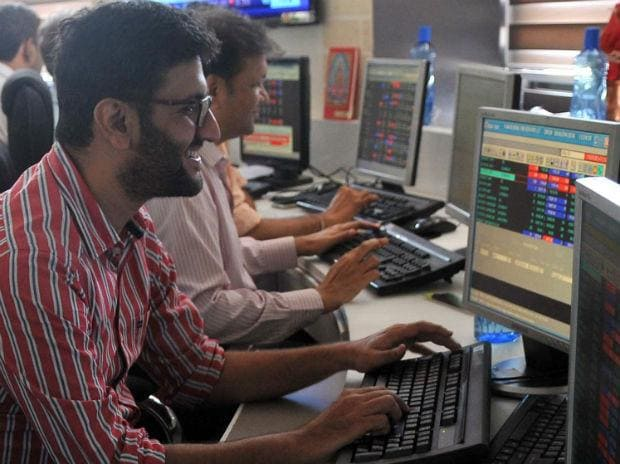 Stock brokers react to the movement share prices on BSE Sensex in Mumbai on January 23. Photo: Kamlesh Pednekar