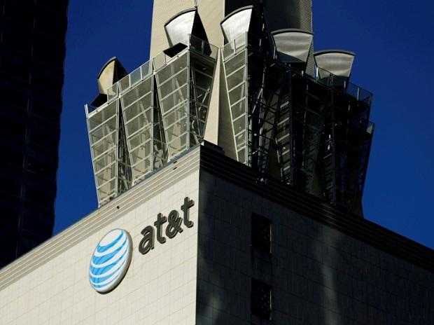 An AT&T logo and communication equipment on a building in Los Angeles