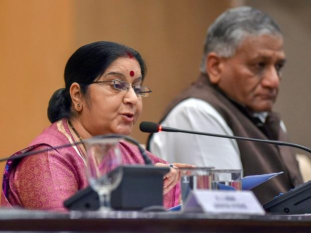 External Affairs Minister Sushma Swaraj with MoS for External Affairs VK Singh at a press conference over the death of 39 Indians who were kidnapped in Iraq.