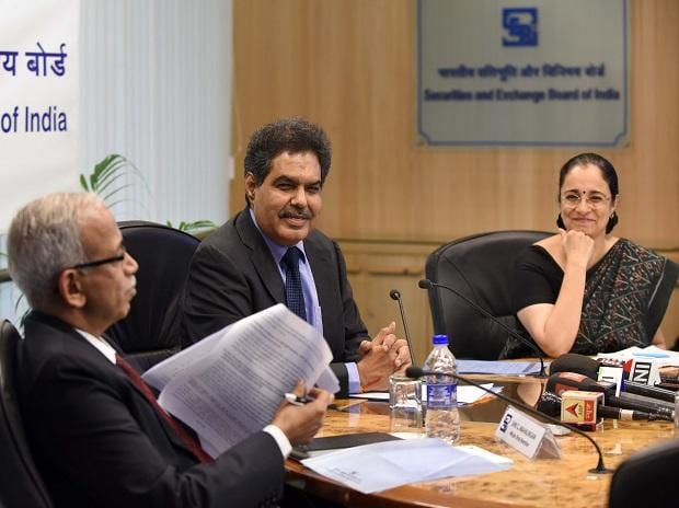 G Mahalingam, Whole Time Member, SEBI, Ajay Tyagi, Chairman, SEBI and Madhabi Puri Buch, Whole Time Member, SEBI at the Press Conference in Mumbai. (Photo: Kamlesh Pednekar)