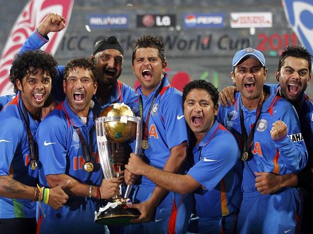 Indian cricket team after winning ICC World Cup 2011