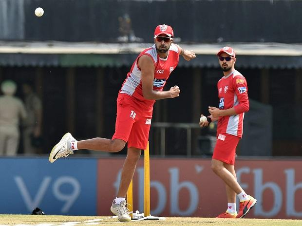 KXIP captain R Ashwin during a practice session ahead of their match against Delhi Daredevils at IPL 2018, at IS Bindra Stadium in Mohali. Photo: PTI