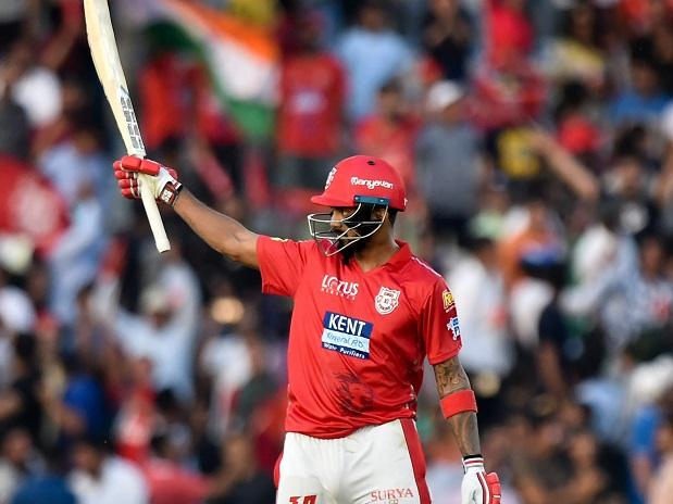 Kings XI Punjab player KL Rahul celebrates his half century against Delhi Daredevils during an IPL match 2018 at IS Bindra Stadium in Mohali. Photo: PTI