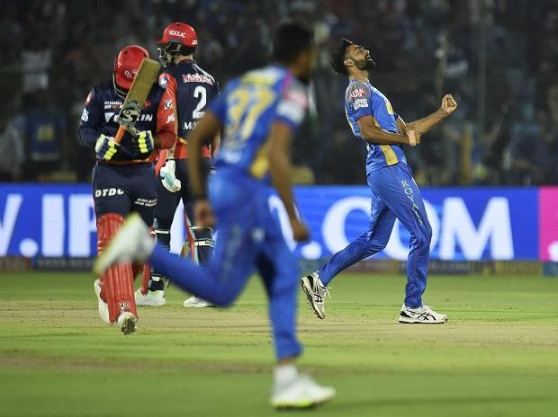 Rajasthan Royals bowler Jaydev Unadkat celebrates after taking wicket of  Delhi Daredevils, now Delhi Capitals, batsman Rishabh Pant during an IPL cricket match  at Sawai Mansingh Stadium in Jaipur. File Photo: PTI