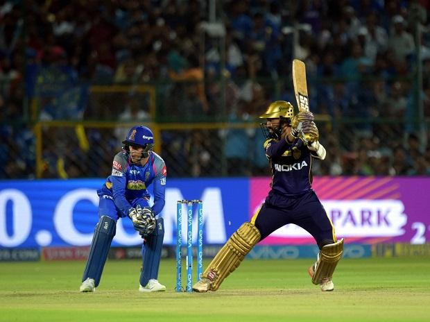 Kolkata Knight Rider batsman Dinesh Karthik  plays a shot during an IPL 2018 cricket match against Rajasthan Royals at Sawai Mansingh Stadium in Jaipur. Photo: PTI