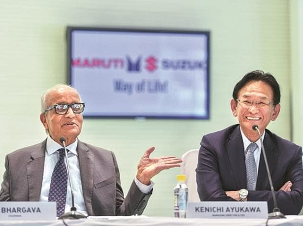 Maruti Suzuki India Chairman R C Bhargava (left) with CEO Kenichi Ayukawa in New Delhi on Friday 	photo: pti