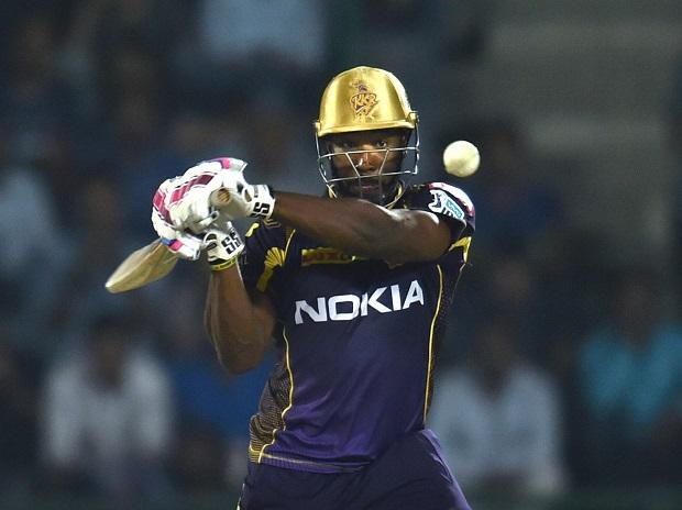 Andre Russell plays a shot