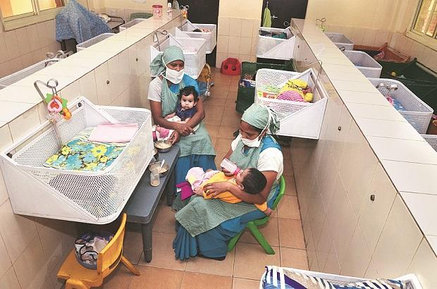 Nursing staff attend to babies at the agency. Photo: Sanjay K Sharma