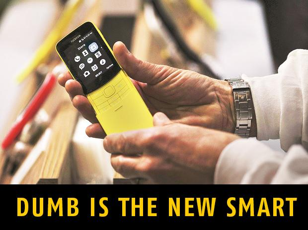 The Nokia 8110 unveiled at the Mobile World Congress 2018 in Barcelona