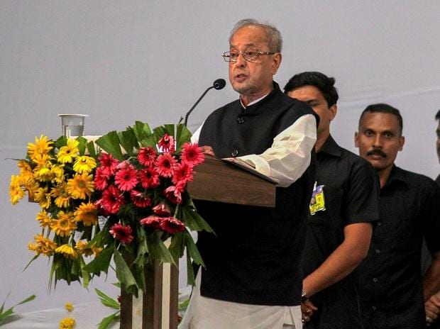 Former president Pranab Mukherjee speaks during the closing ceremony of 'Tritiya Varsha Sangh Shiksha Varg', an (RSS) event to mark the conclusion of a three-year training camp for Swayamsevaks,