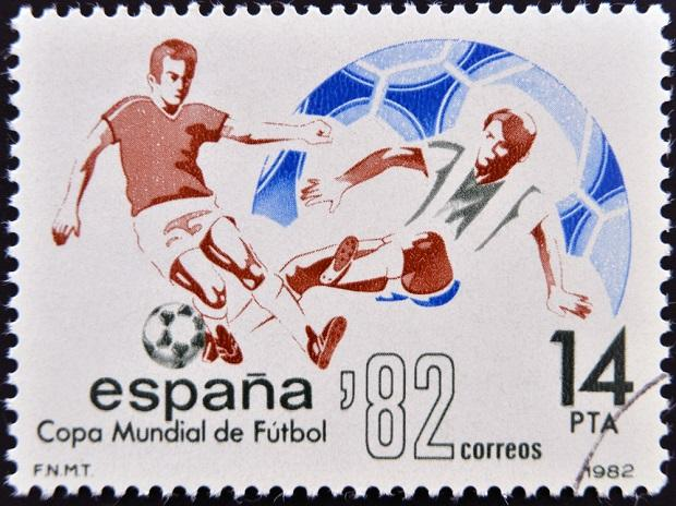 Stamp printed in Spain dedicated to Football World Cup in Spain 1982. (Photo: Shutterstock)