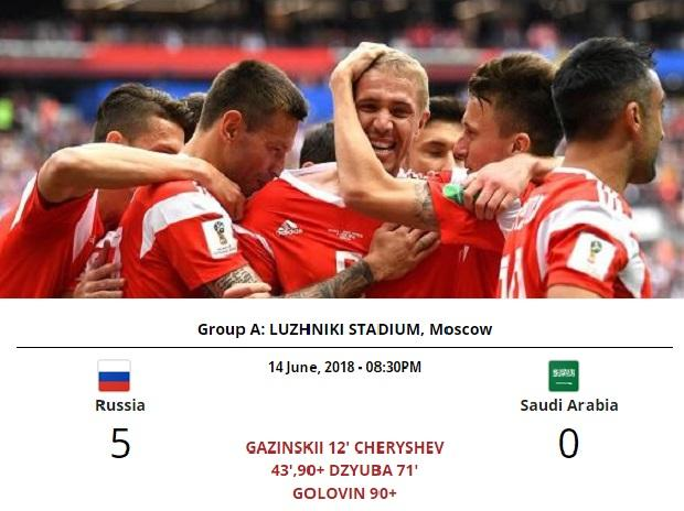 Cherry-shev on top: Winger scores brace as Russia rout Saudi Arabia 5-0