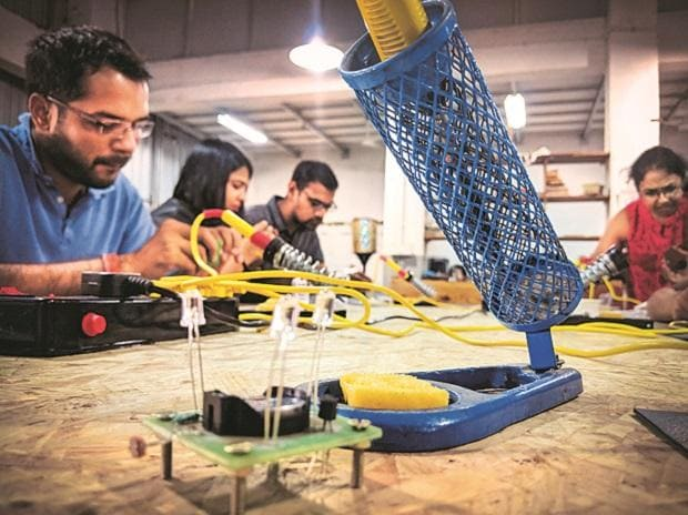 Young entrepreneurs  at a Workbench Projects Fablab in Bengaluru. Photo: Dalip Kumar