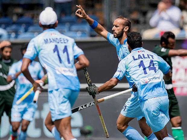 Breda: India hockey player Ramandeep Singh celebrates after scoring a goal against Pakistan during the Champions Trophy Hockey 2018, in Breda, Netherlands on Saturday, June 23, 2018. Photo: PTI