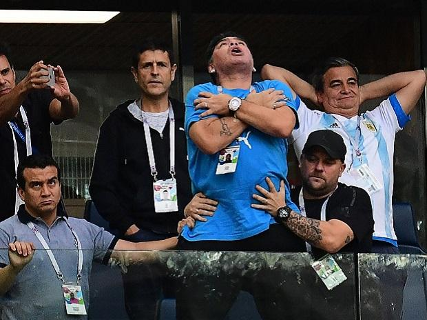Maradona after Messi's goal. Photo: Twitter