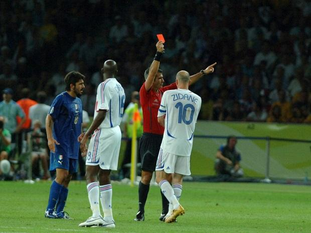 Zinedine Zidane being sent off in 2006 World Cup final
