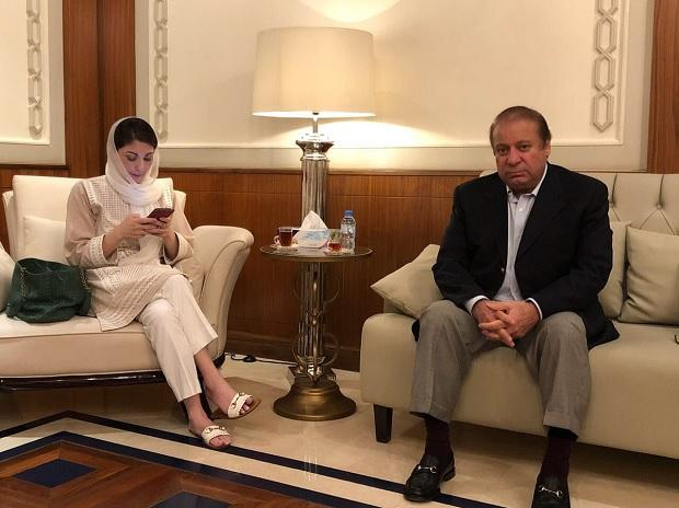 Nawaz Sharif and Maryam Nawaz Sharif Photo: ANI/Twitter