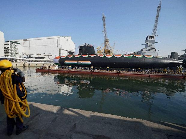 India's second scorpene class submarine Khanderi launched at Mazagon dock shipbuilders limited (mdl) in Mumbai. Photo: PTI