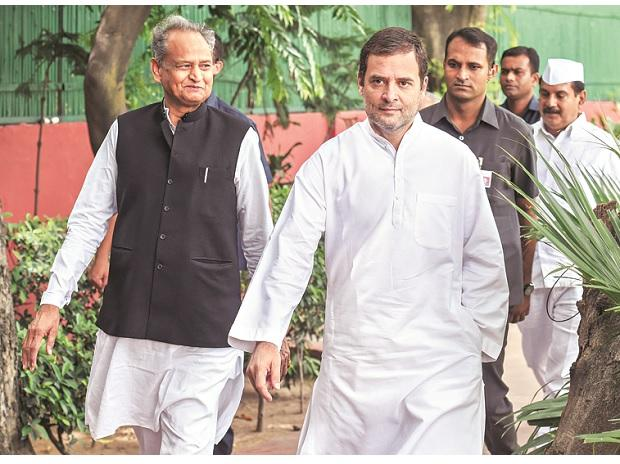Rahul Gandhi and Ashok Gehlot during the CWC meet in New Delhi. (Photo: PTI)