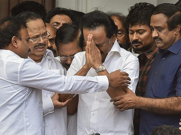 DMK leader MK Stalin breaks down while thanking the supporters after Madras High Court's verdict to allow the burial of his father and former chief minister M Karunanidhi at Marina beach, in Chennai on Wednesday