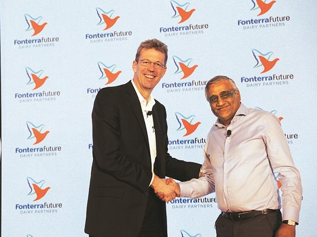 Lukas Paravicini (left), COO, global consumer and food service, Fonterra, and Kishore Biyani, group CEO, Future Group, in Mumbai on Wednesday