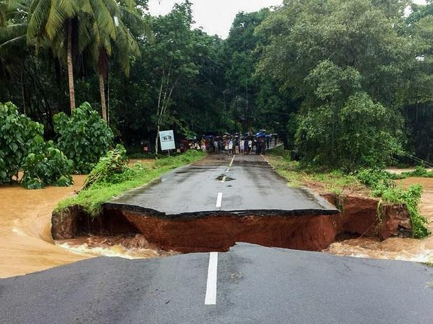 Road gets washed away in Malappuram after flash flood