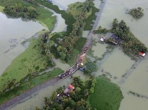 An aerial view shows partially submerged road at a flooded area in the southern state of Kerala. Photo: Reuters