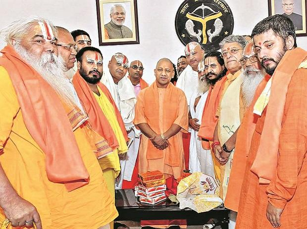 Uttar Pradesh CM Yogi Adityanath with a delegation of seers during a recent meeting over early construction of Ram Temple at Ayodhya