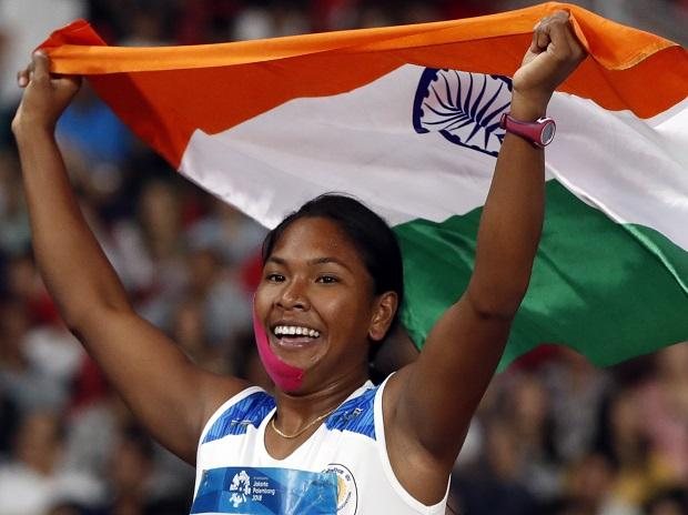 India's Swapna Barman celebrates her win in Women's Heptathlon (Photo: Reuters)