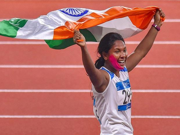 Jakarta: Indian athlete Swapna Barman celebrates after winning the gold medal in the women's Heptathlon event at the 18th Asian Games, in Jakarta, Indonesia on Wednesday, Aug 29, 2018. Photo: PTI